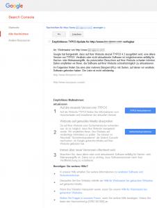Nachricht zum TYPO3 Update in der Google Search Console