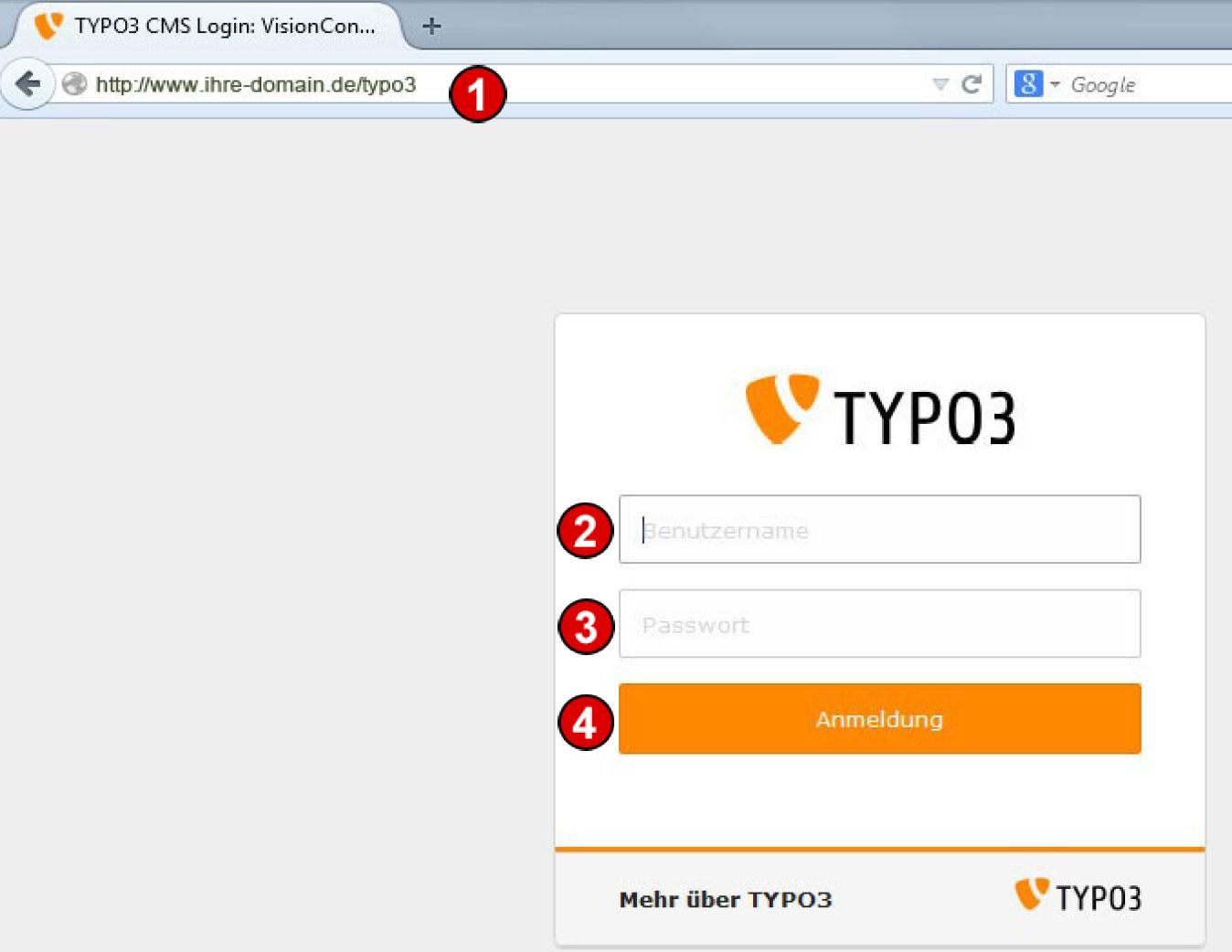TYPO3 Handbuch v 8 LTS - Anmeldung am Backend