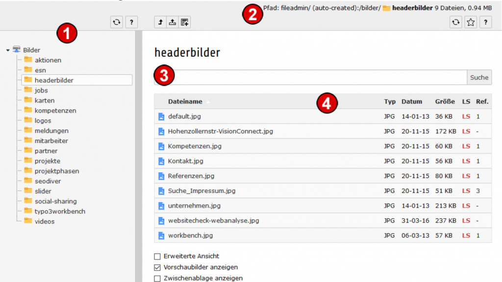 TYPO3 Handbuch v. 8 LTS - Modul DATEI> Liste