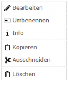 TYPO3 Handbuch v. 8 LTS - Modul DATEI > Liste - Kontextmenü