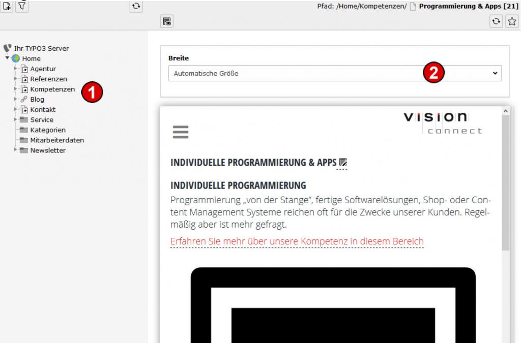 TYPO3 Handbuch v. 8 LTS - Modul WEB > Anzeigen