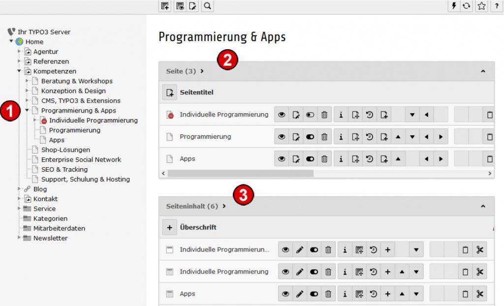 TYPO3 Handbuch v. 8 LTS - Modul WEB > Liste