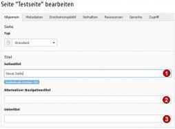 TYPO3 Handbuch v. 8 LTS - Seite bearbeiten - Reiter Allgemein