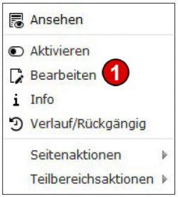 TYPO3 Handbuch v. 8 LTS - Seite bearbeiten - Kontextmenü