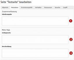 TYPO3 Handbuch v. 8 LTS - Seite bearbeiten - Reiter Metadaten