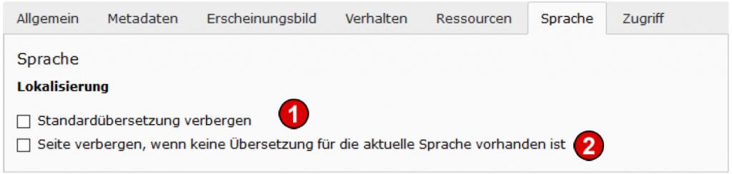 TYPO3 Handbuch v. 8 LTS - Seite bearbeiten - Reiter Sprache