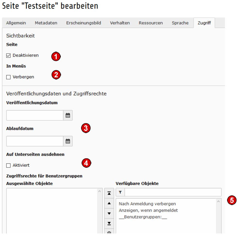 TYPO3 Handbuch v. 8 LTS - Seite bearbeiten - Reiter Zugriff