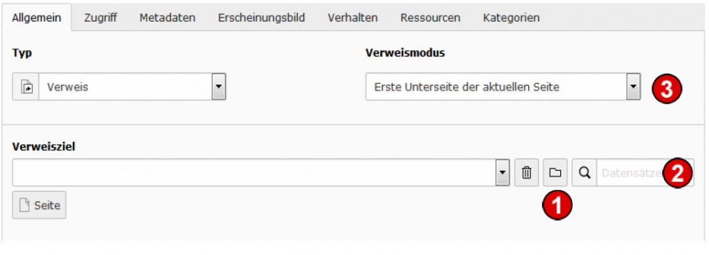 TYPO3 Handbuch v. 8 LTS - Seite Typ Verweis