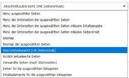 TYPO3 v8 Handbuch Auswahl Menütypen