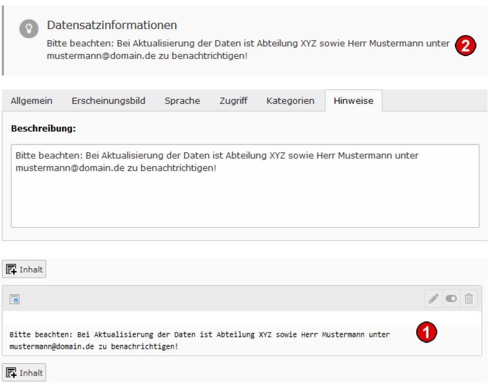 TYPO3 v8 Handbuche - Reiter Hinweise