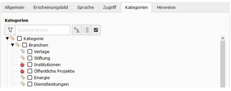 TYPO3 v8 Handbuch Reiter Kategorien