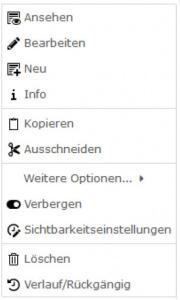 TYPO3 v8 Handbuche Kontextmenü