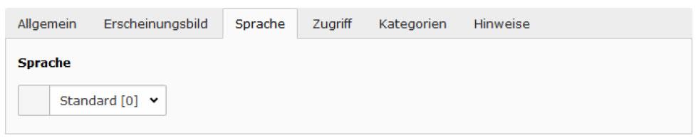 TYPO3 v8 Handbuche Reiter Sprache