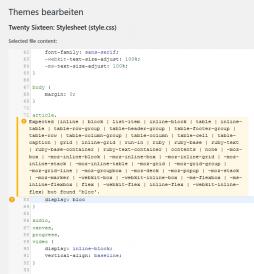 Wordpress Editor mit Syntax Highlightning