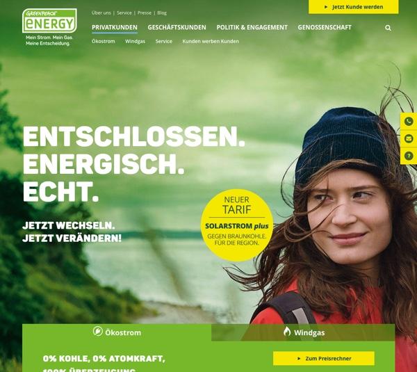 Beispiel Greenpeace Energy, die wichtigsten interaktiven Elemente sind gelb und fallen dem User so ins Auge.
