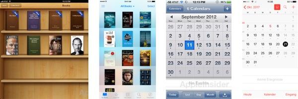 App-Gestaltung: Beispiel iBook 2012 (Bildquelle appleinsider ) and 2017 im Flat Design (Bildquelle Apple Store), Beispiel 2: Calendar 2012 (Bildquelle appleinsider ) und 2017 (Screenshot iOS 10.3.3)