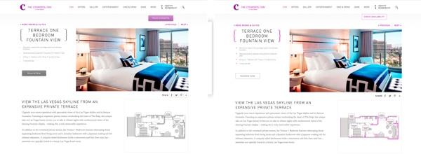Beispiel für eine Website in zwei Varianten für den Test. Das linke Bild zeigt die Website mit 3D-Buttons, in der rechten Variante sind die Buttons im Flat Design gestaltet. Quelle