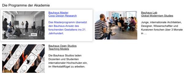 Beispiel Bauhaus Dessau, bei MouseOver wird der Text des Teasers blau und der gesamte Teaserbereich wird schattiert.
