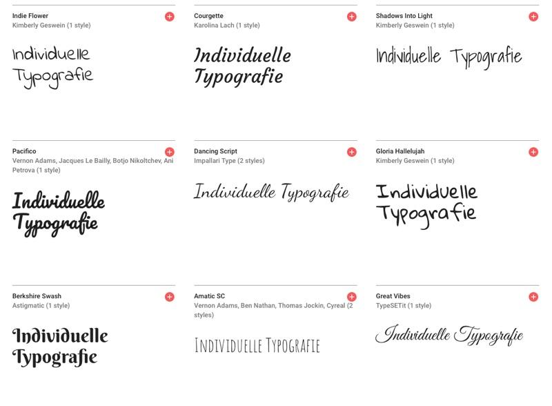 Screenshot typografie google fonts
